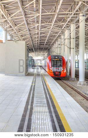 SOCHI KRASNAYA POLYANA RUSSIA - April 29.2015: Modern railway station Rosa Khutor in Krasnaya Polyana