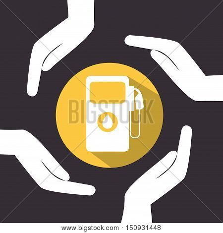 human hands with gas station pump icon over yellow circle. petroleum industry design. vector illustration