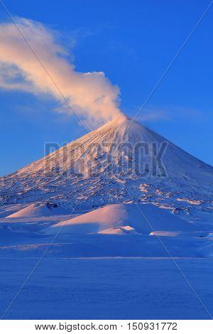 Picturesque winter volcanic landscape of Kamchatka Peninsula: view of eruption active Klyuchevskoy Volcano at sunrise. Eurasia Russia Far East Kamchatsky Region Klyuchevskaya Group of Volcanoes.