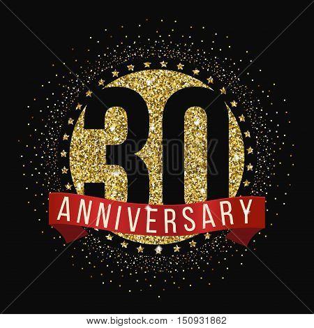 Thirty years anniversary celebration logotype. 30th anniversary logo.