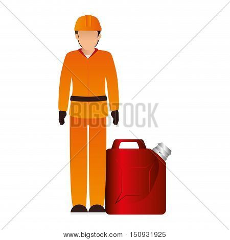 avatar industrial worker with safety equipment and oil gallon icon. vector illustration