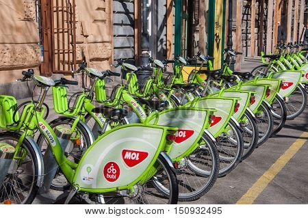 Green Bicycles At A Docking Station For Hire In Budapest