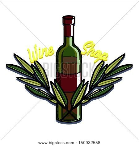 Color vintage wine shop emblem. Template isolated icon design. Vector illustration, EPS 10
