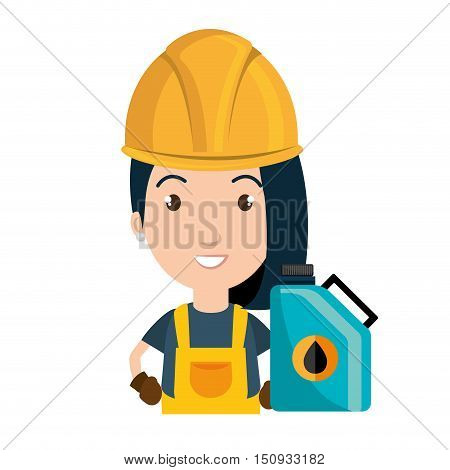 avatar woman smiling industrial worker with safety equipment and oil gallon icon. vector illustration