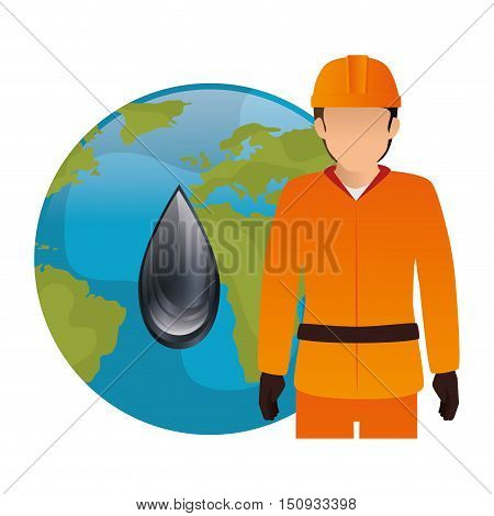 avatar industrial worker with safety equipment and  earth planet globe with oil drop icon. vector illustration