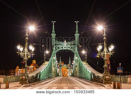Night View Of Liberty Bridge Or Freedom Bridge In Budapest, Hungary