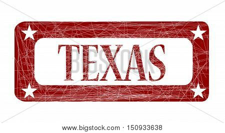 A grunged red ink stamp with the word Texas over white