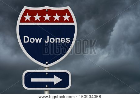 American Dow Jones Highway Road Sign Red White and Blue American Highway Sign with words Dow Jones with stormy sky background 3D Illustration