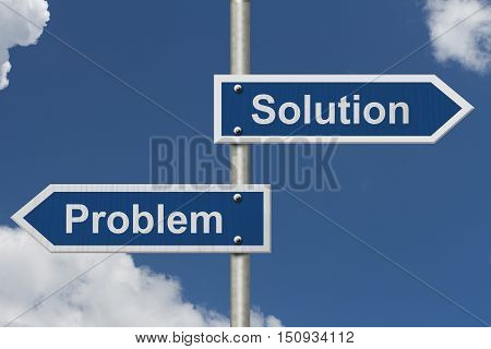Finding Solutions for your Problems Two Blue Road Sign with text Problem and Solution with sky background 3D Illustration