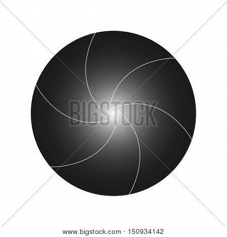 Vector illustration shutter camera gradient black with white edges