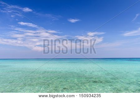 Sky and clouds clear with blue sea andaman backgroundVacationTravel Koh RokThailand