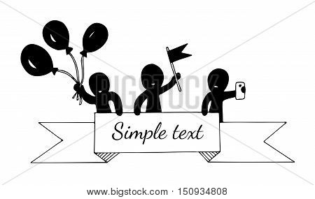 Abstract people hold a ribbon hold balloons flag phone. Mono color black line art element for adult coloring book page design child magazine banner template.