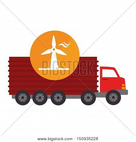 red cargo truck vehicle with eolic wind icon over orange circle. vector illustration