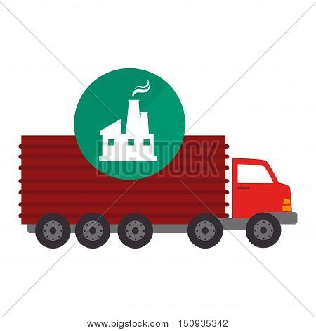 red cargo truck vehicle with factory building icon over green circle. vector illutration