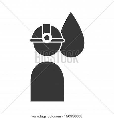 avatar industrial worker user with helmet and black oil drop. silhouette. vector illustration