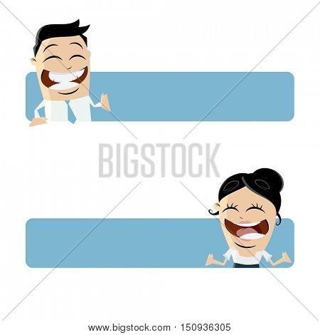 funny business people with blank banner