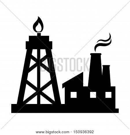 oil rig tower and factory building. silhouette vector illustration