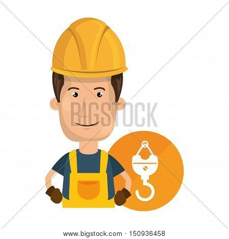 avatar industrial worker with safety equipment and  hook icon over orange circle. vector illustration