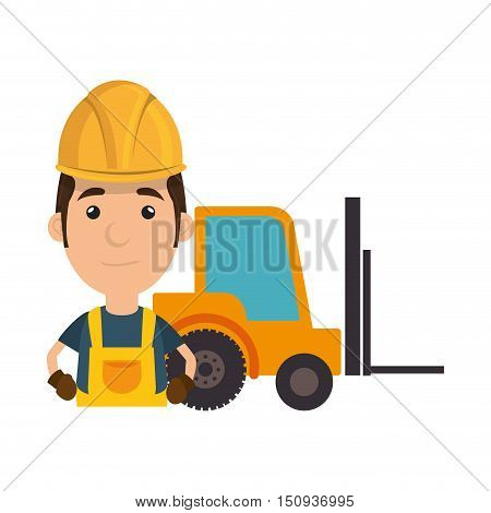 avatar industrial worker with safety equipment and forklift truck icon. vector illustration