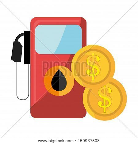 oil station pump with drop icon and money coins. vector illustration