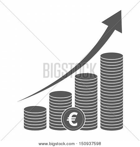 Coin icon in flat design. Black euro symbol. Income concept. Heap of cash euro coin - vector illustration.