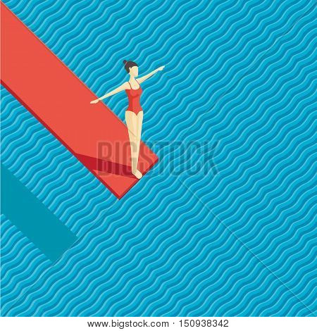 Girl jumping on water. Top view of a swimming pool.