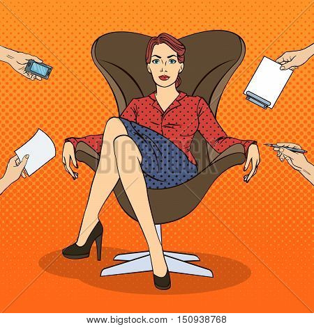 Pop Art Successful Business Woman Sitting in Luxury Chair at Multi Tasking Office Work. Vector illustration
