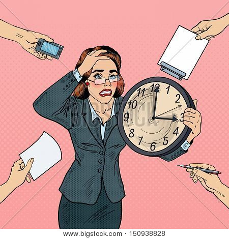 Stressed Pop Art Business Woman with Big Clock at Deadline Multi Tasking Office Work. Vector illustration