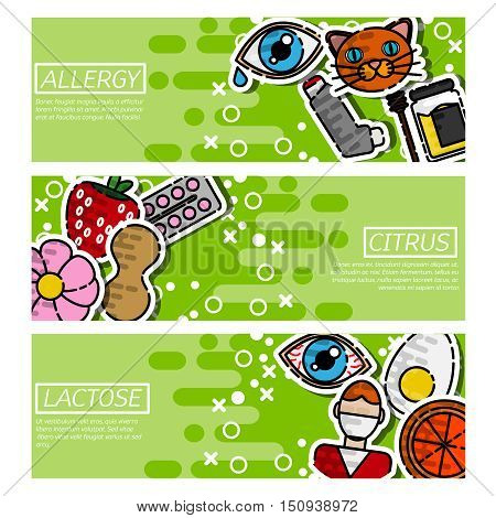 Set of Horizontal Banners about allergy isolated vector illustration