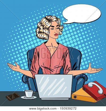 Pop Art Stressed Business Woman with Laptop at Multi Tasking Office Work. Vector illustration