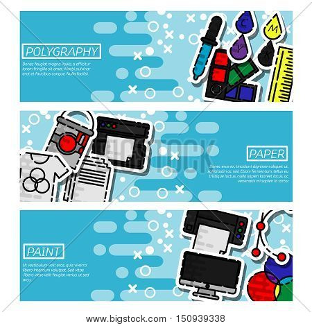 Set of Horizontal Banners about polygraphy. Spectrum and gamma, technology equipment, ink and palette, vector illustration