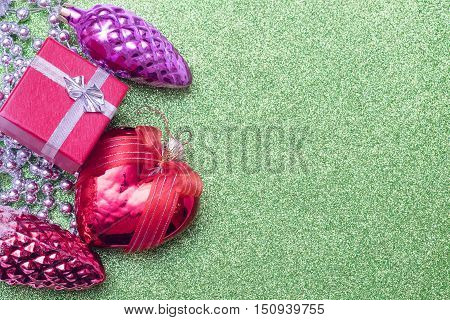 Christmas Toy Bump, Christmas Heart Shaped Red Ball And Small Gift Box On Background