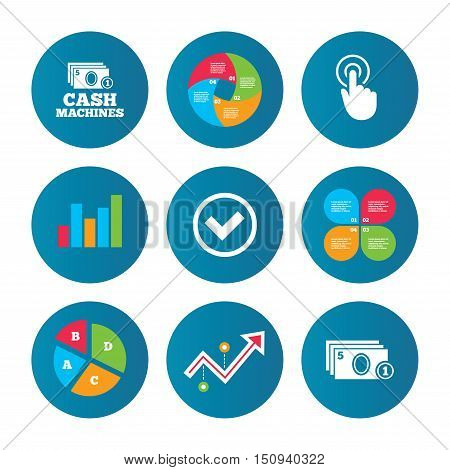 Business pie chart. Growth curve. Presentation buttons. ATM cash machine withdrawal icons. Click here, check PIN number, processing and cash withdrawal symbols. Data analysis. Vector