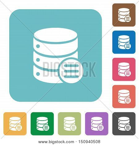 Flat database options icons on rounded square color backgrounds.