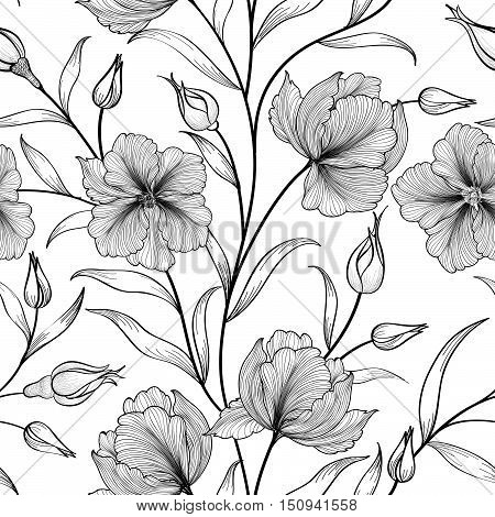 Floral seamless pattern. Flower engraving background. Floral tile etching ornamental texture with flowers. Spring flourish garden sketch