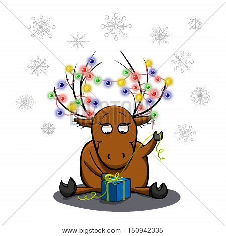 Cute cartoon deer unpacking a gift. Christmas and New Year theme. Greeting card. Vector illustration in hand drawn style.