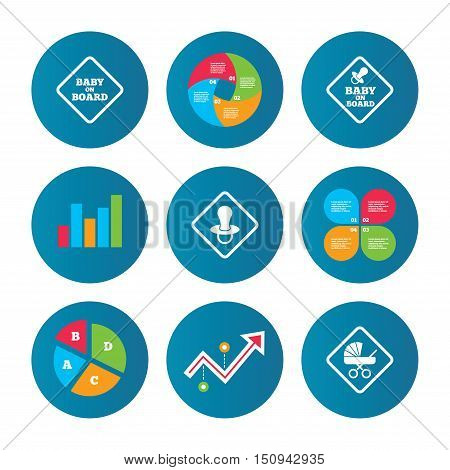 Business pie chart. Growth curve. Presentation buttons. Baby on board icons. Infant caution signs. Child buggy carriage symbol. Data analysis. Vector