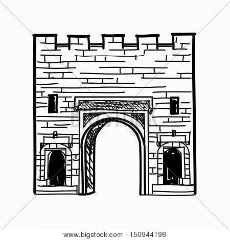 Arch gates in fortress wall Doorway to town wall castle Architectural gate sign