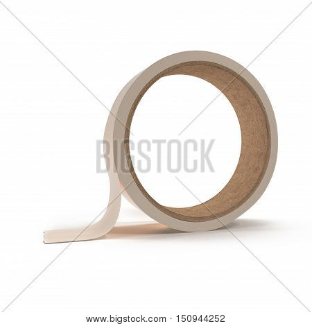 Round Adhesive Sticky Tape Roll on white background. 3D illustration