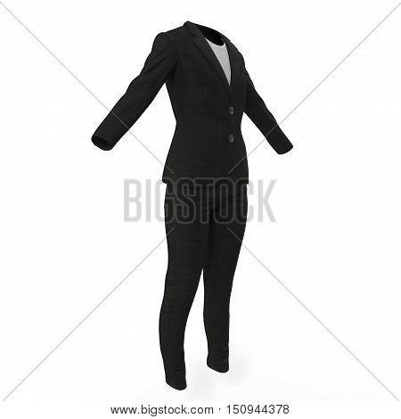 Women's business suit on a white background. 3D illustration