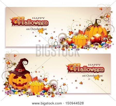 Halloween Banners with Jack O Lantern, Pumpkin Baskets, Autumn Leaves, Candles and lots of Different Sweet Candies