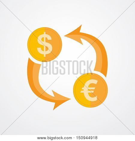 Icon currency exchange - vector illustration. The concept of foreign exchange transactions between the dollar and the euro. Exchange icon in flat design.