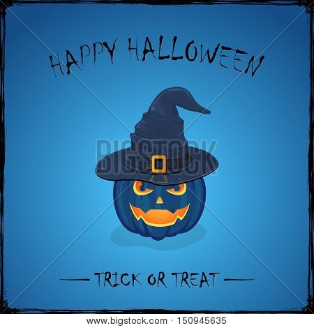 Halloween theme with Jack O Lantern, smiling pumpkin in black witches hat with golden buckle on blue background, inscription Happy Halloween and trick or treat, illustration.