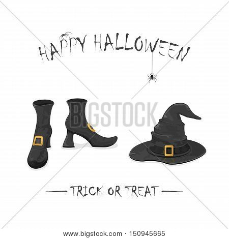 Halloween theme with spiders, black witches shoes and hat with golden buckle, isolated on white background, inscription Happy Halloween and trick or treat, illustration.