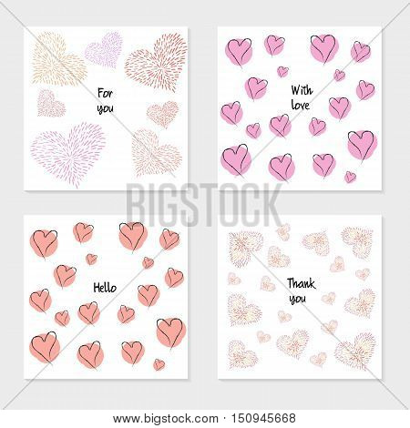 Set of cartoon cards. Design for poster card invitation placard brochure flyer. Birthday or Valentine's Day backgrounds with hearts abstract modern style.