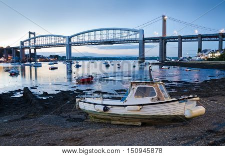 RIVER TAMAR, PLYMOUTH. OCTOBER 9TH 2016. The road bridge linking Devon and Cornwall is less busy now that the tourist season is nearing its end.