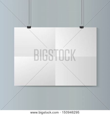 Empty vector  horizontal white paper poster mockup with traces of the folded sheet and paper clip on grey wall.