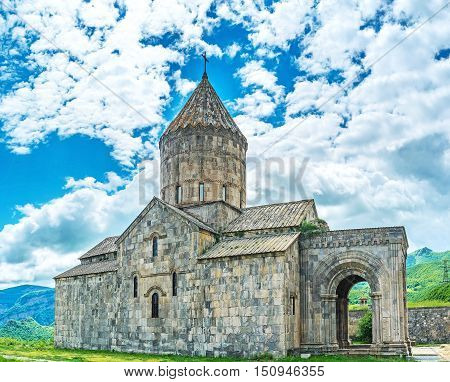 The medieval stone basilica is the largest building in fortified complex of Tatev Monastery it's dedicated to St Peter and Paul the Apostles Tatev Syunik Province Armenia.
