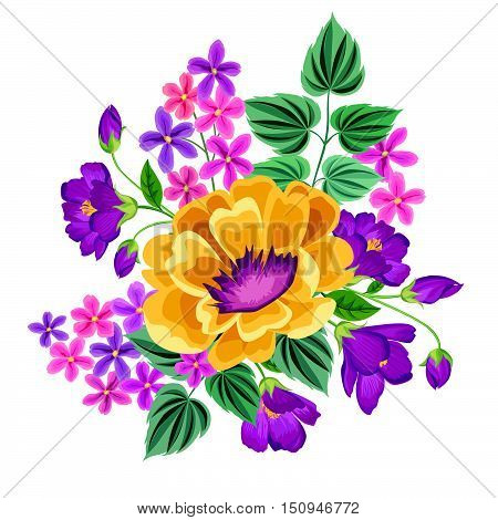 Flower bouquet. Floral frame. Flourish greeting card. Blooming flowers isolated on white background