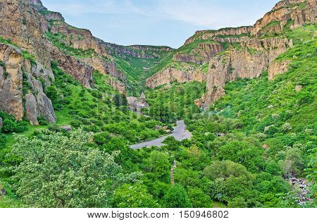 The Geghard Monastery located in green lush Azat River Gorge Kotayk Province Armenia.